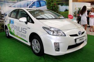 "KIEV - SEPTEMBER 10: Toyota Prius at yearly automotive-show ""Capital auto show 2011"". September 10, 2011 in Kiev, Ukraine."